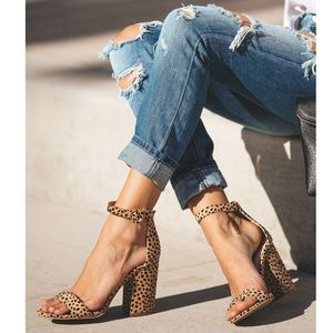 The Catwalk- Panther Print Chunky Heel Sandal